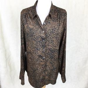 Ann Taylor Cheetah Print Button Up Blouse sz. 12